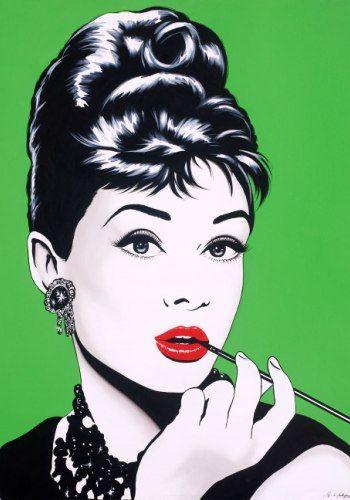 audrey hepburn antonio de felipe - green background - pop art