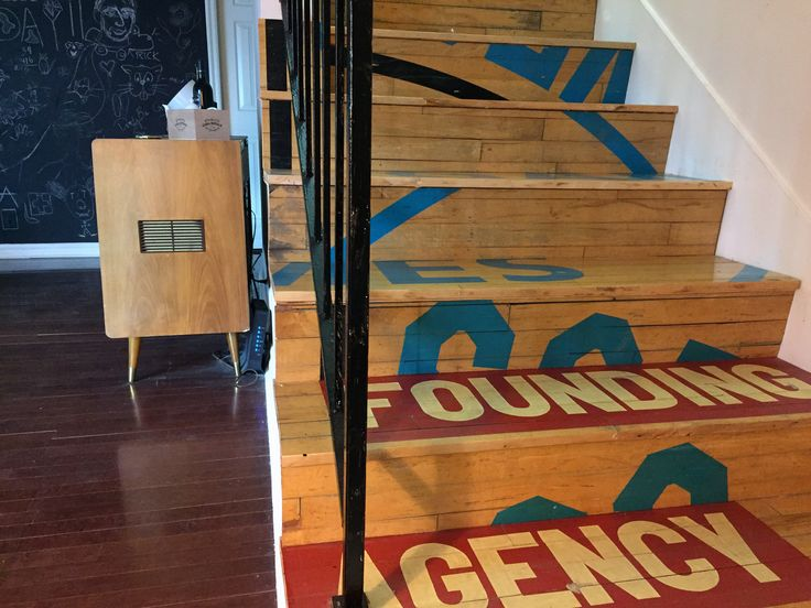Monica's stairs are made from wood reclaimed from a LA basketball court.