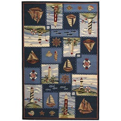 @Overstock - Update your home decor with this eye-catching novelty rug Hand-hooked rug styled with a contemporary nautical design Rug features a blue panel sailboat and lighthouse backgroundhttp://www.overstock.com/Home-Garden/Hand-hooked-Nautical-Blue-Wool-Rug-6-x-9/3296677/product.html?CID=214117 $223.99