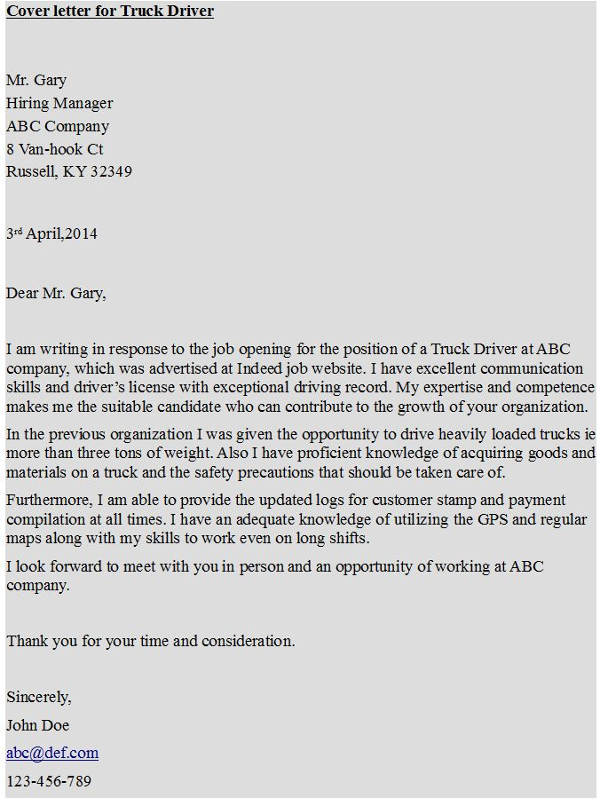 Cover Letter For Truck Driver Https Hipcv Examples Transportation