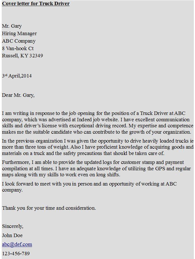 Cover letter for Truck Driver  https://hipcv.com/