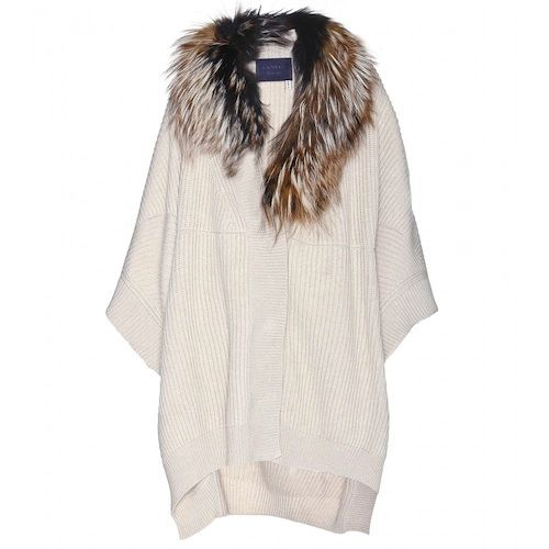 Lanvin-Wool-and-cashmere-blend-cape-cardigan-with-fur-trim