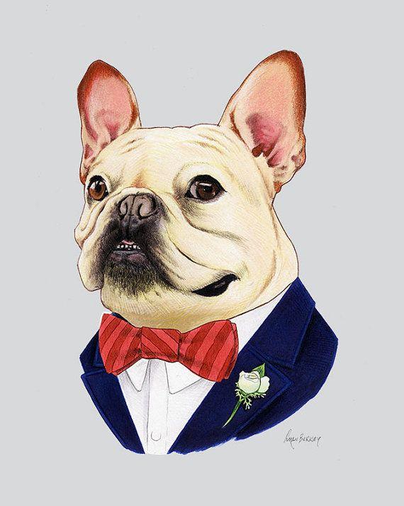Bulldog Francés - impresión animal del perro - niño moderno arte - animales - vivero moderno - arte perro ropa - animal obra de arte - Ryan Berkley 8 x 10