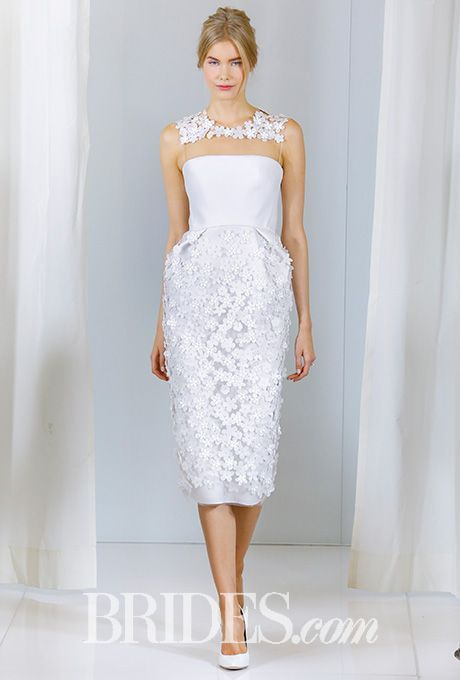 Tendance Robe du mariée  2017/2018  Angel Sanchez Tea-Length Wedding Dress with Flowers  Fall 2016  Brides.com