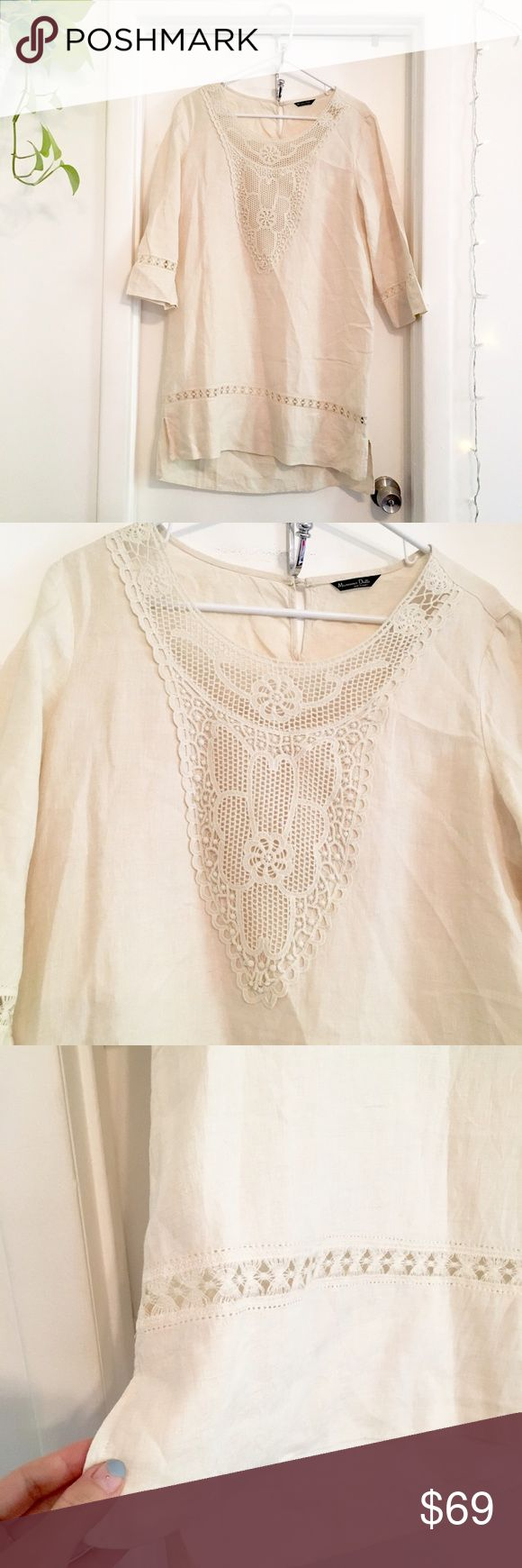 Massimo Dutti embroidered kaftan - linen Beautiful summer dress or tunic! Massimo Dutti Dresses Midi