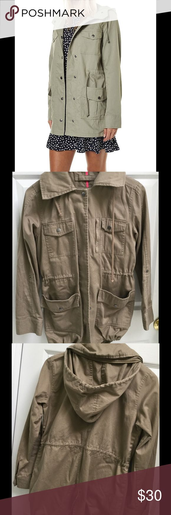 Hurley Khaki Parka Cool parka with drawstring waist for a more feminine fit. Can be worn with or without hood. Sleeves can be rolled up and held with snaps. Hurley Jackets & Coats