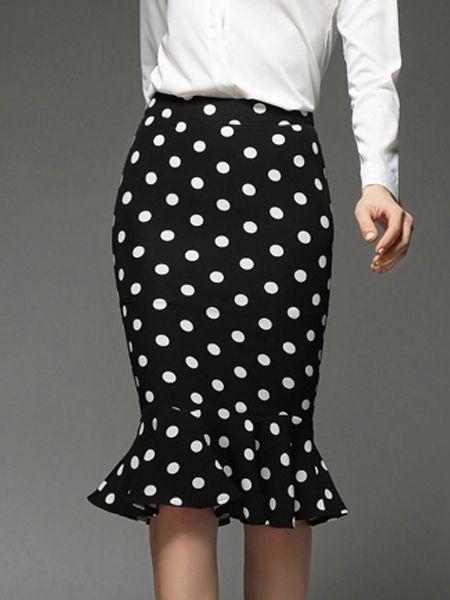 Fabulous Polka Dot Midi-skirt   fashionmia.com