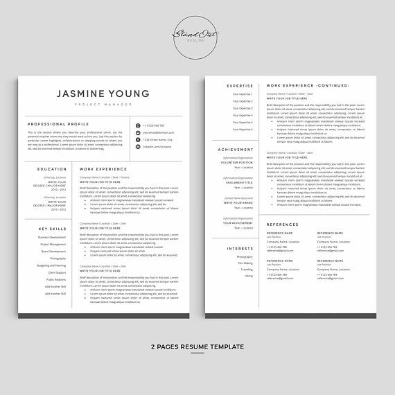 Creative Resume Template For Ms Word Google Docs 5 Page Etsy Resume Template Cover Letter For Resume Creative Resume Templates