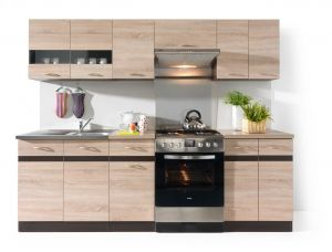 JUNONA LINE 240 kitchen set. Junona Line Set is ideal for use with a 60 cm freestanding cooker. Total length of the set is 240 cm. All units including sink cabinet and wall glass-fronted cabinet can be positioned separately and not necessarily in the line as shown on the photo. #furniture #polish #kitchen