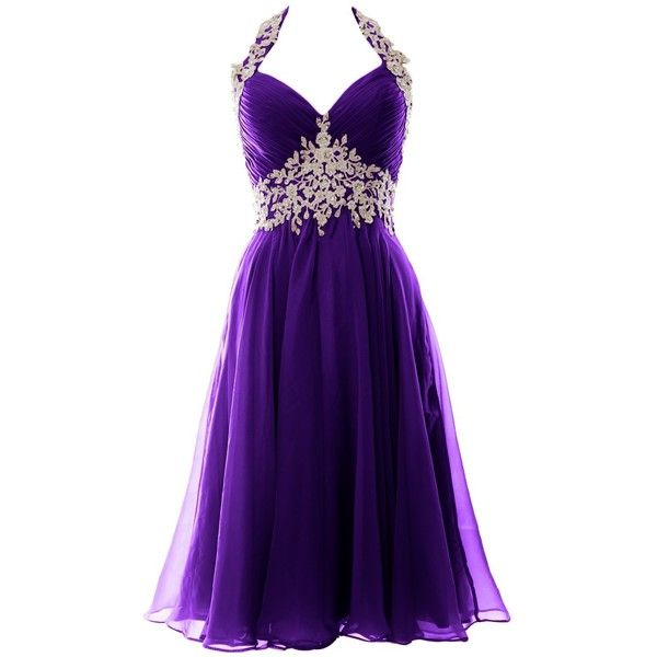 MACloth Women Halter Lace Chiffon Short Prom Dress Formal Evening Ball... ($124) ❤ liked on Polyvore featuring dresses, gowns, lace gown, formal evening gowns, short lace dress, purple evening gowns and prom gowns