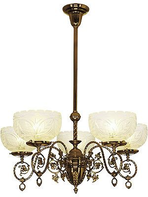"Victorian Light Fixture. Alameda 5 Light Chandelier With 4"" Fitters"