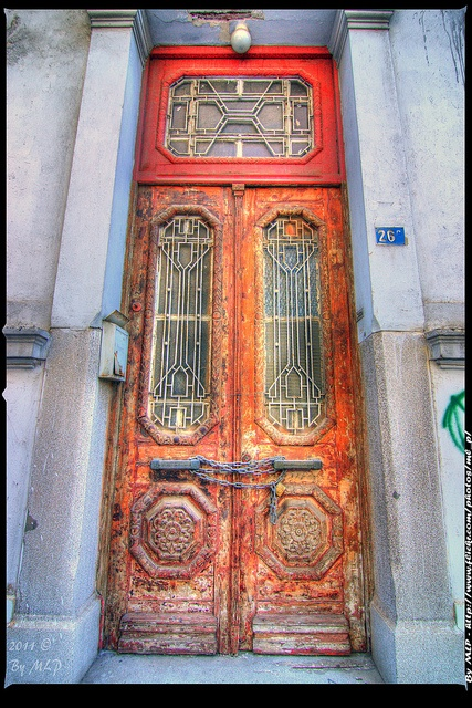 Old wooden door, Pigada, Piraeus, Greece