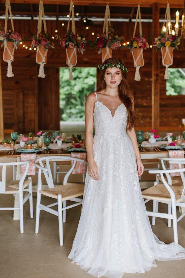 Southwest Wedding Ideas at Tatum Acres. Rustic boho wedding dress from Melissa Sweet exclusively at David's Bridal. Style: MS251177