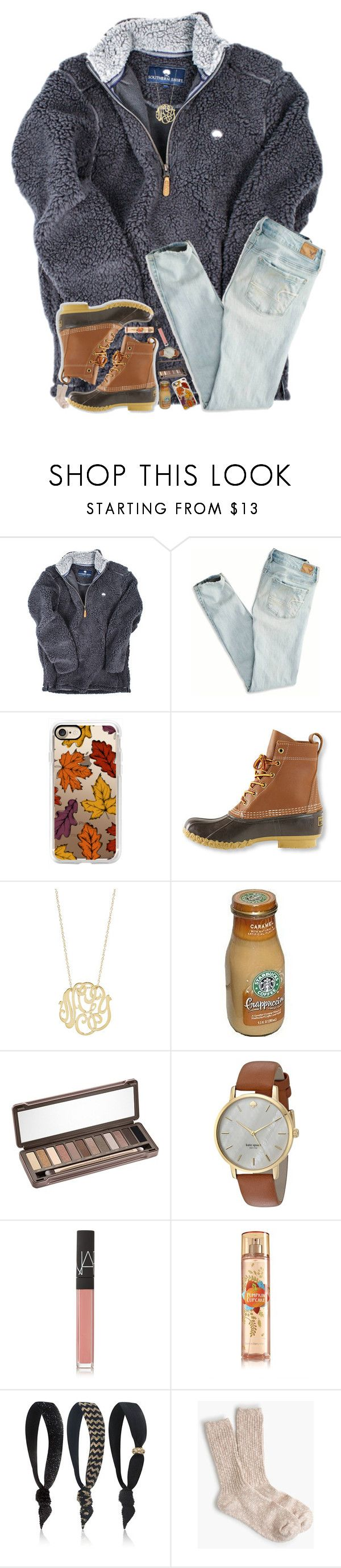 """This looks like a very cozy outfit"" by hgw8503 ❤ liked on Polyvore featuring American Eagle Outfitters, Casetify, L.L.Bean, Ginette NY, Urban Decay, Kate Spade, NARS Cosmetics, Dye Ties and J.Crew"