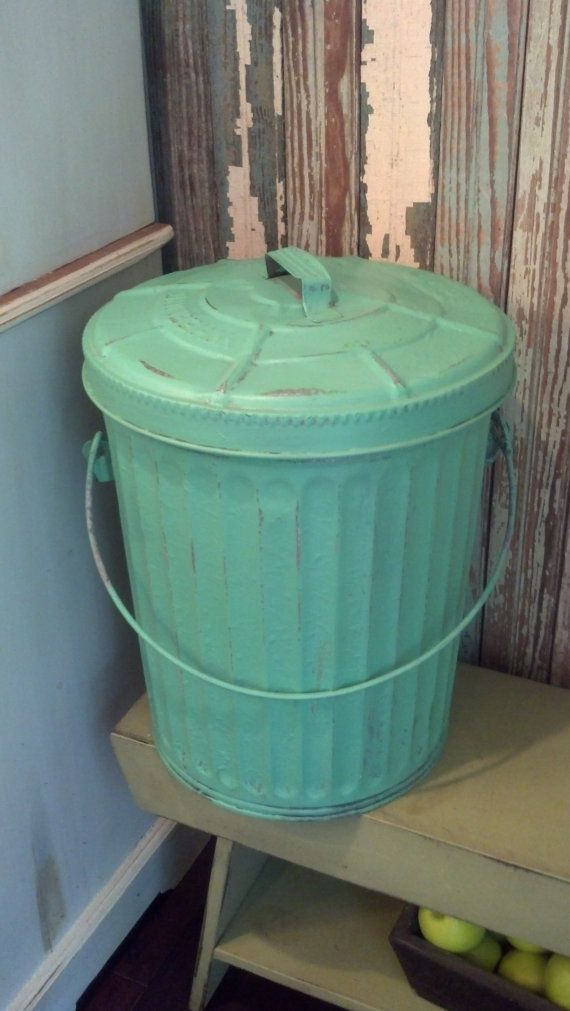 Reserved Vintage Galvanized Trash Can Painted Teal And