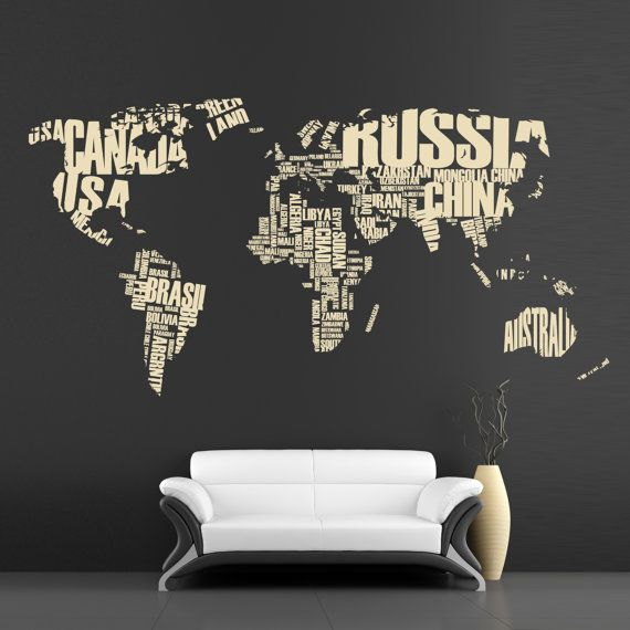 Map wall decal   letter map  large wall decor  vinyl by OhMyWall