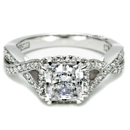 Tacori Dantela Collection Fancy Twist Pave Diamond Engagement Ring with Milgrain Trim and Accent Diamond .45cttw (center Stone Not Included)