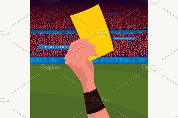 Close Up Hand Holding Yellow Card Red Card Soccer Referee Football Ball
