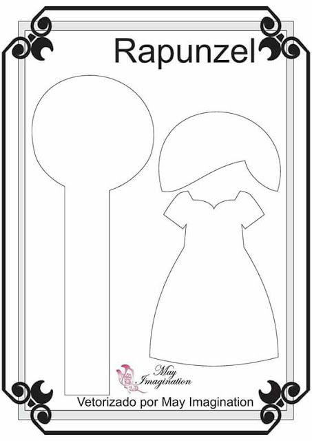 Moldes Princesa da Disney (Blog Amigas do Feltro) Molde Rapunzel feltro