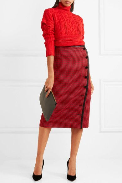 Altuzarra - Christofor Silk Satin-trimmed Houndstooth Wool Skirt - Crimson