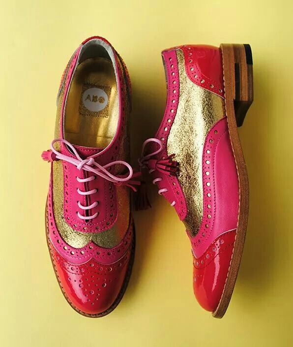 ABO pink & gold brogues #shoes #brogues #oxfords #oxfordshoes