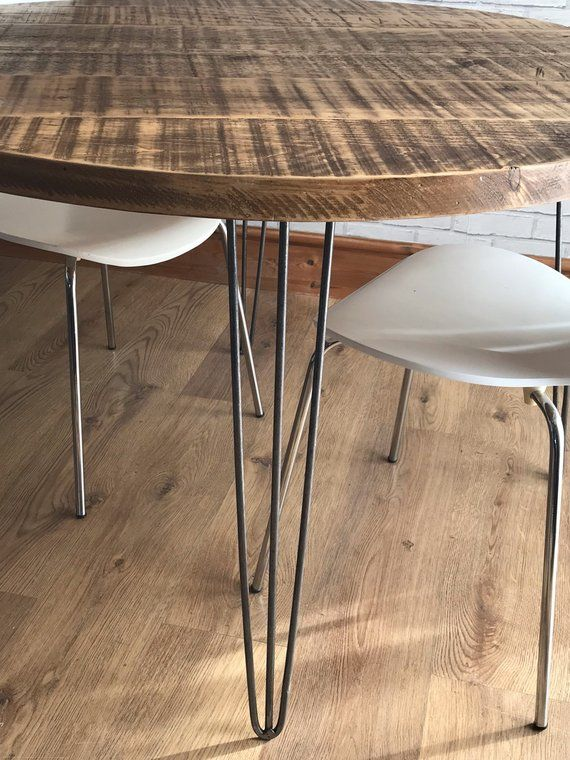 Round Rustic Industrial Hairpin Dining Table Fast Dispatch Etsy
