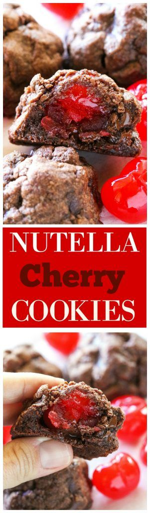 Nutella Cherry Cookies - only 5 ingredients in these easy chocolatey, gooey cookies. the-girl-who-ate-everything.com