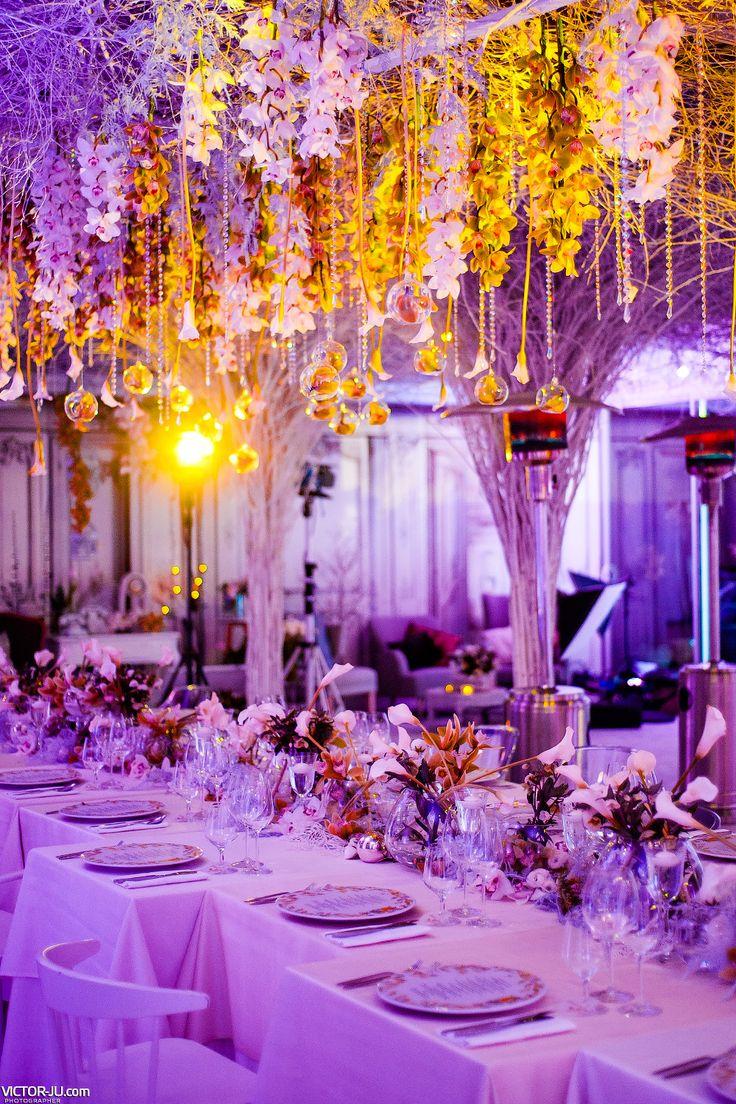 Flower garlands, purple light