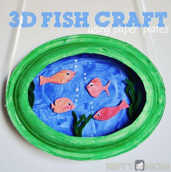 Make a 3D Fish Scene with 2 Paper Plates #preschoolcrafts