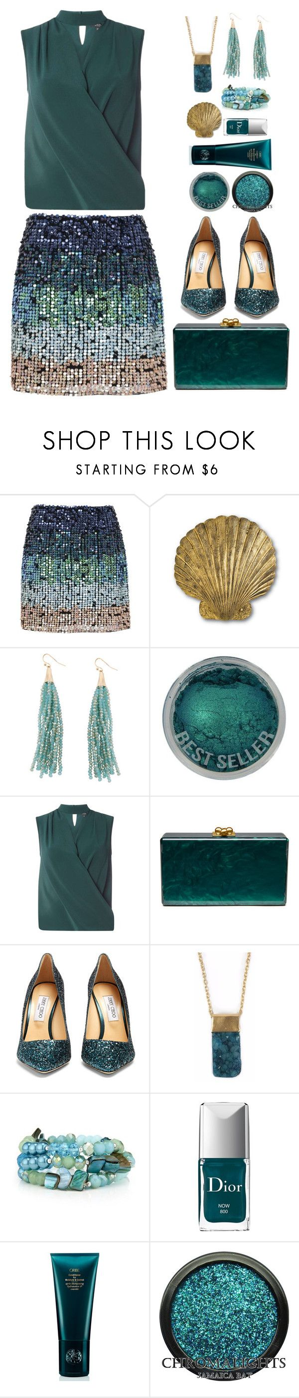 """Mermaid Inspired"" by gicreazioni ❤ liked on Polyvore featuring French Connection, Humble Chic, Dorothy Perkins, Edie Parker, Jimmy Choo, Christian Dior and Space NK"