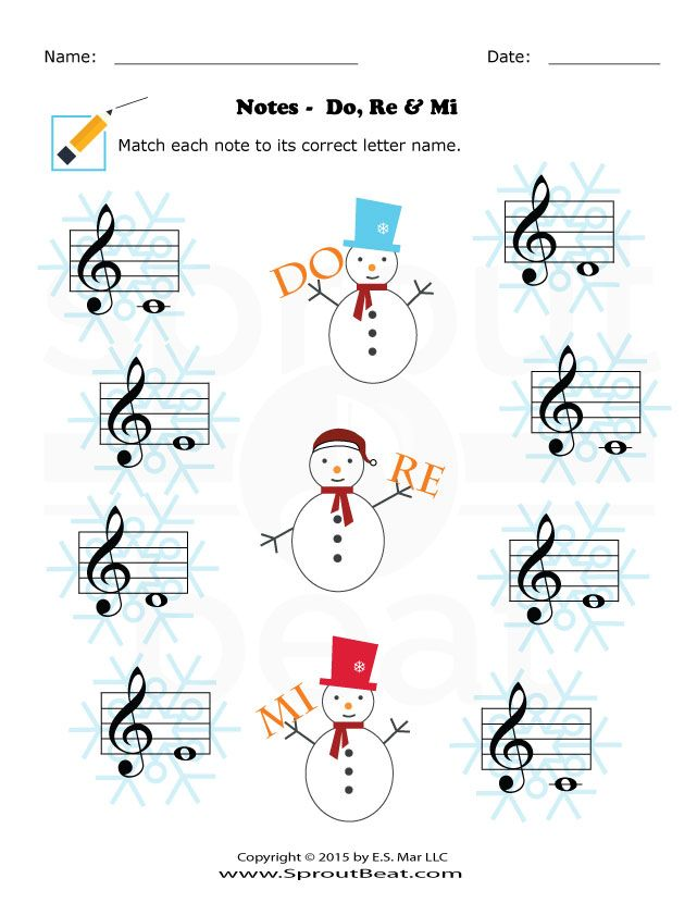 Music Worksheets – Holidays – Note Reading - SproutBeat
