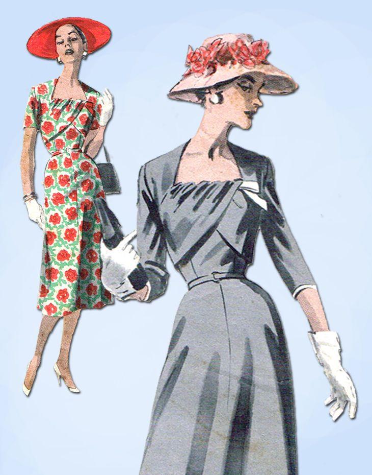 1950s Vintage Butterick Sewing Pattern 7985 Plus Size Ladies Cocktail Dress 46 B #Butterick #DressPattern