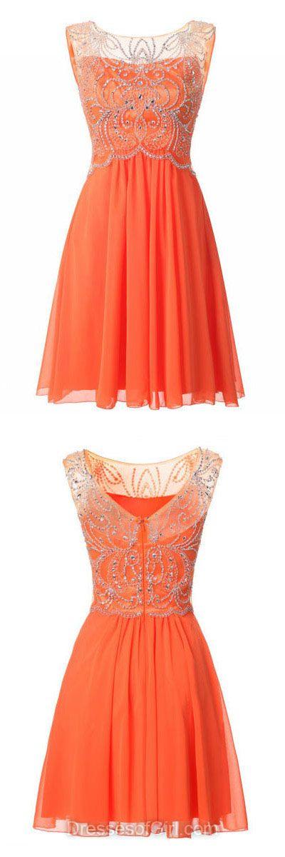 Cheap Homecoming Dresses, Orange Cocktail Dresses, Short Party Dresses, Chiffon Prom Dresses, Simple Graduation Dresses, Cheap Formal Dresses