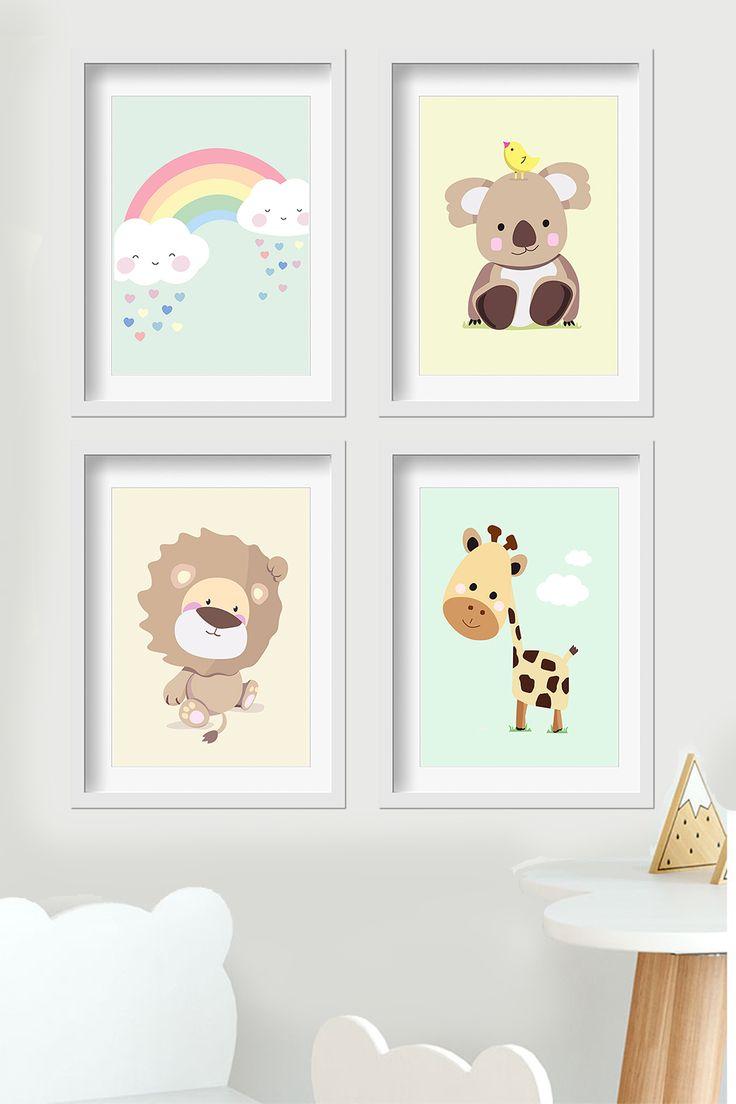 Kinderzimmer Bilder Wandgestaltung Babyzimmer in pastell mint #babyzimmer #kinderzimmer #baby #mint
