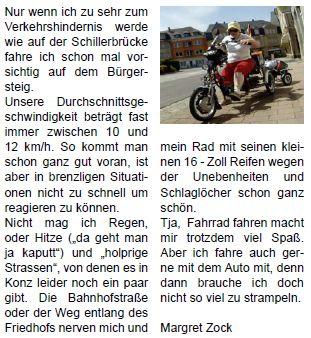 Artikel in Duitse media over de driewielfiets de Easy Rider Junior van Van Raam