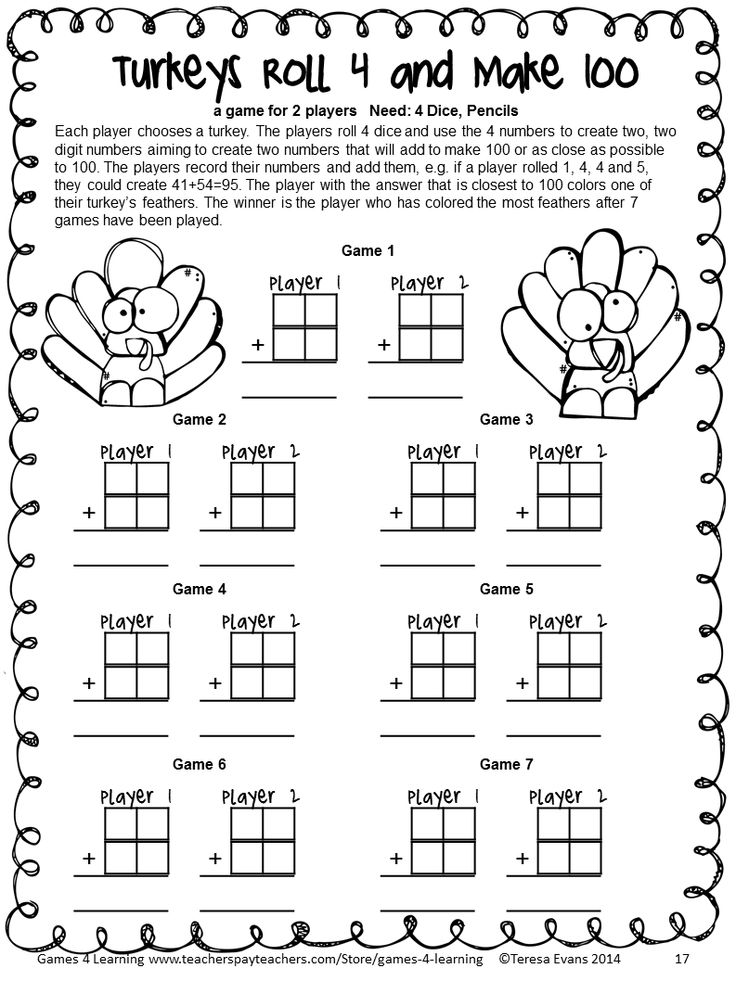 NO PREP Thanksgiving Math Games for Third Grade with ...