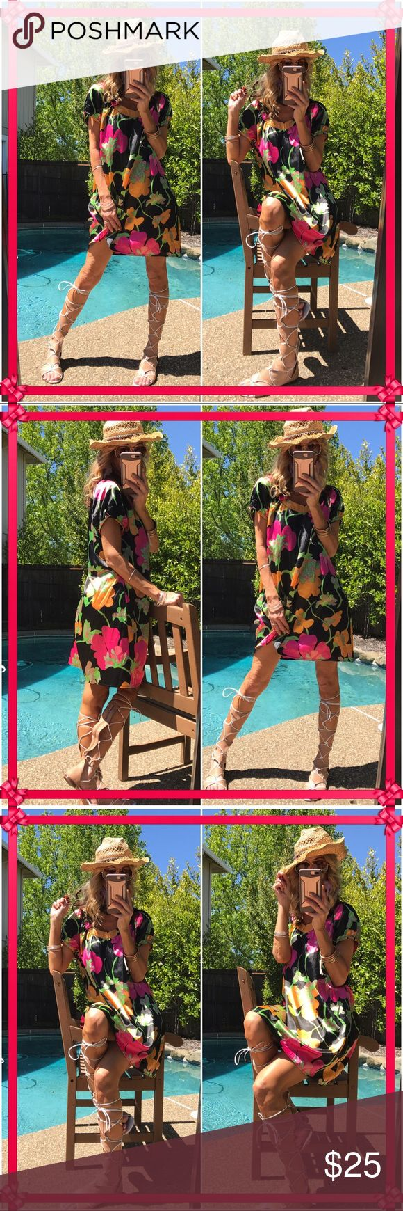 👛Bcbg👛 Floral Bcbg max sunnie, omg I mean look at this piece!. Full of vibrant classy chicness. Just needs pressing as wrinkles easily. Great to perfect condition! BCBGMaxAzria Dresses Midi