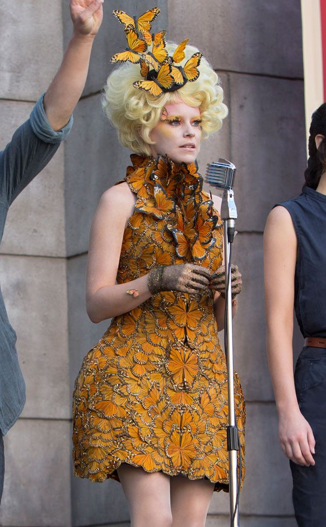 Elizabeth Banks' 'Catching Fire' Butterfly Dress: 10,000 Hand Painted Feathers- Alexander McQueen