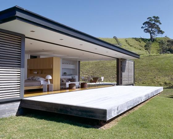 Bertram Architects, mooi combi hout glas en beton terras