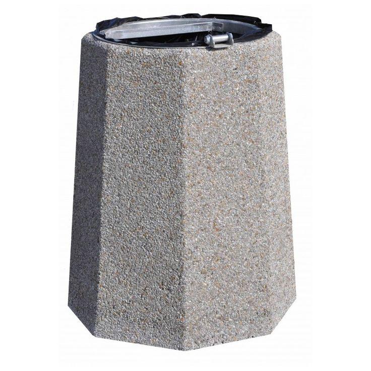 kosze betonowe, kosze na śmieci, kosze na smieci, mała architektura miejska, Kosz ośmiokątny 70 litrów 2