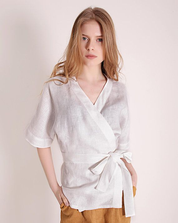 f39cdea981dc97 Wrap Linen Blouse Short Sleeves Linen Wrap Top Kimono Linen | Love ...