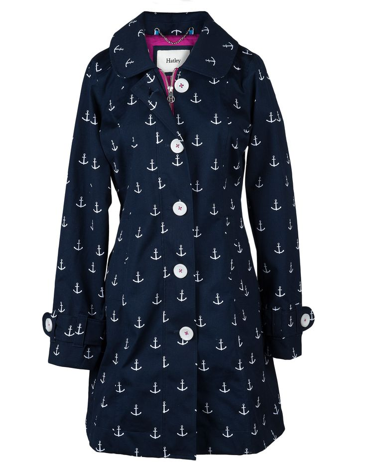 Navy Anchors with Fuschia Lining Women's Classic Rain Jacket - Rain Jackets - Rain Gear - Women | Hatley US
