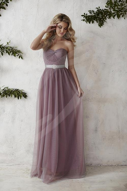 Balletts Bridal - 22385 - Bridesmaids by Jacquelin Bridals Canada - This dress features a long, elegant tulle overlay and a bold broach centered on a stylish waistband. The gathered strapless bodice crowned with a sweetheart neckline completes the classic look. Pictured in: Platinum/Wisteria/Platinum