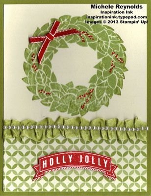 Handmade Christmas card made with Stampin' Up! Sets Wonderful Wreath and A Banner Christmas.