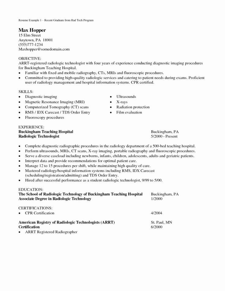 Teaching Cover Letter Template New Radiologic Technologist