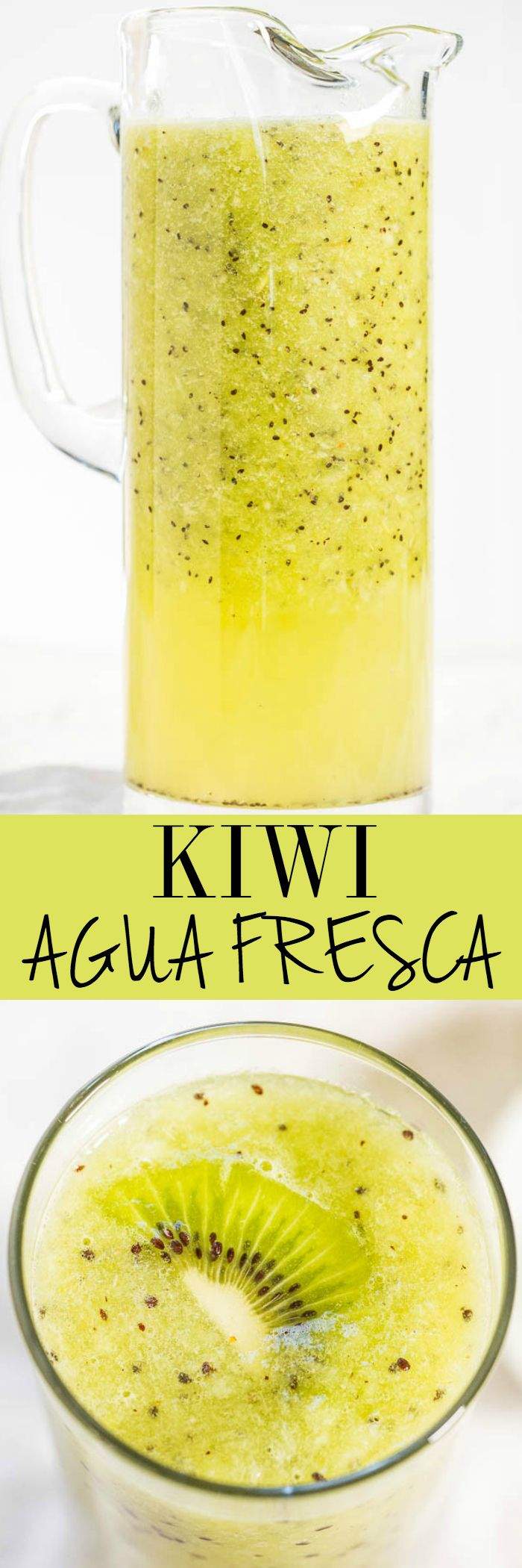 Kiwi Agua Fresca - Refreshing, healthy, naturally sweet, so easy and ready in 30 seconds!! It'll be your new favorite drink!! #FathersDay #FourthofJuly