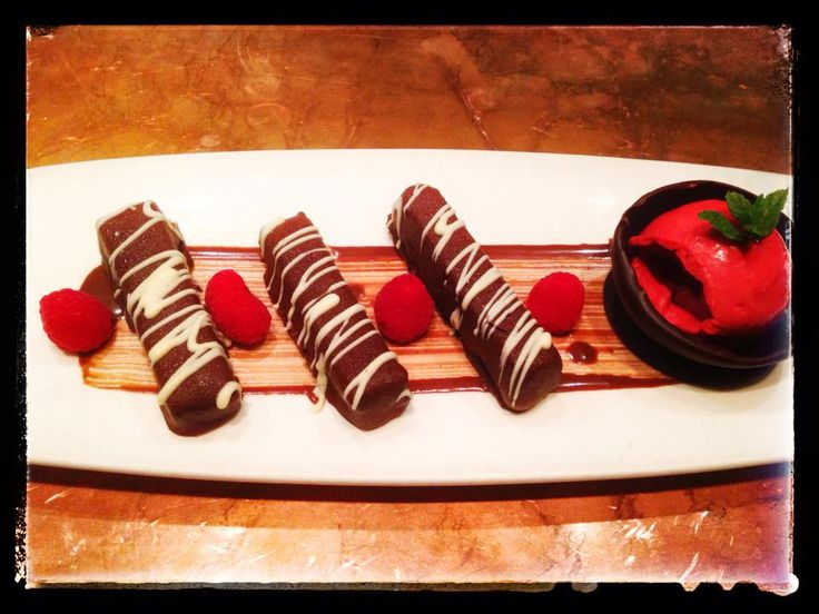 Chops- Dark Chocolate & Hazelnut bars, served with raspberry sorbet