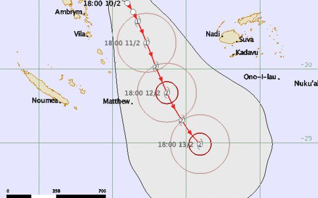 Map tracking Cyclone Winston