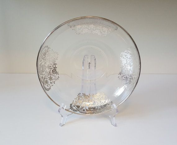 Vintage Silver Floral Glass Bowl Clear Glass Bowl by RetroEnvy21