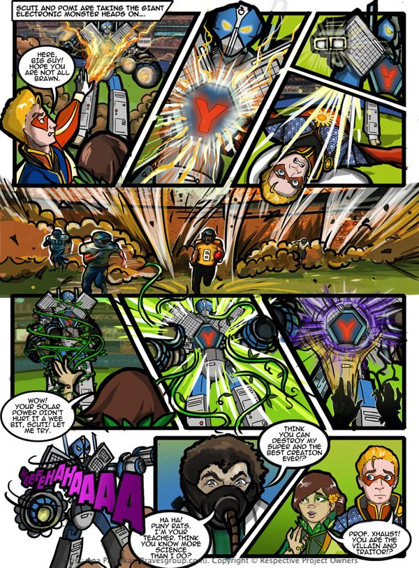 Comic page from 'Supergreeners' billed as Canada's First Environmental Superhero Comic Book! A 48 fullpage color comic book produced & developed by Green-A-Kid Canada Edutainment Inc. and Brainwave, from the house of Amar Chitra Katha & Tinkle. Currently sold on www.greenakid.com